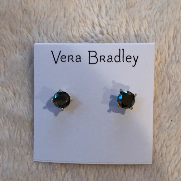 2b2826b006b7d Vera Bradley sparkling stud goldtone black earring NWT